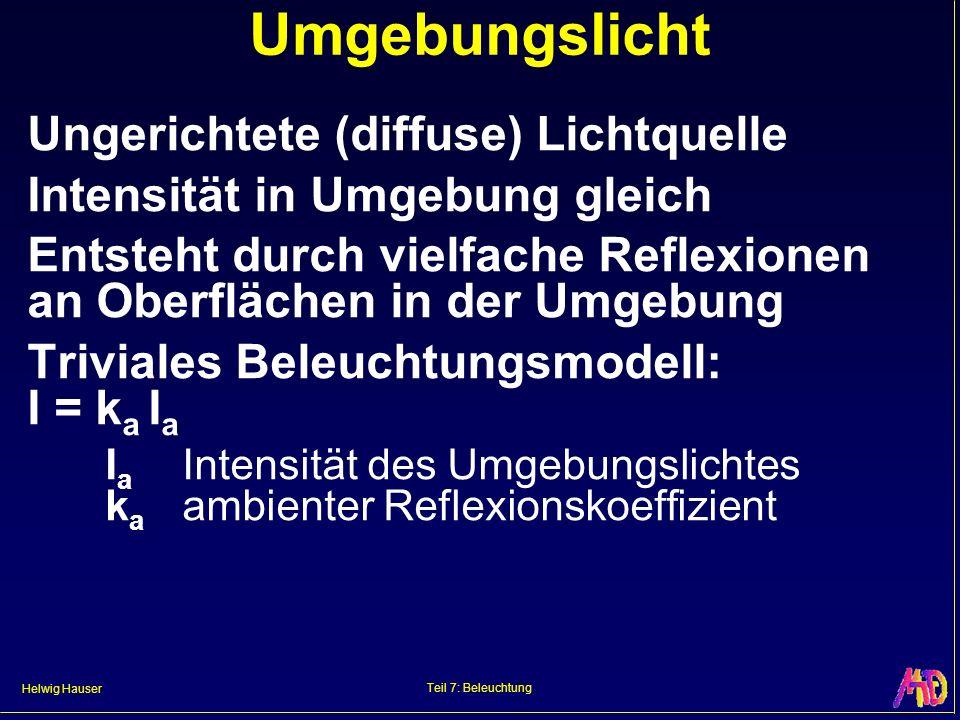 Helwig Hauser Teil 7: Beleuchtung Umgebungslicht Ungerichtete (diffuse) Lichtquelle Intensität in Umgebung gleich Entsteht durch vielfache Reflexionen