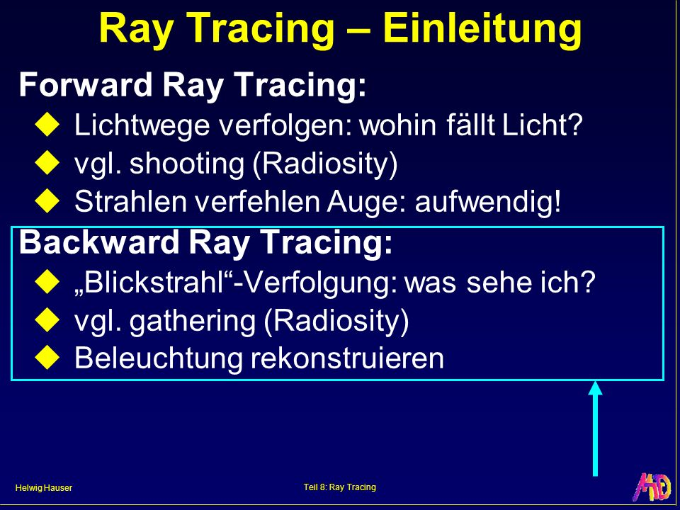 Helwig Hauser Teil 8: Ray Tracing Ray Tracing – Einleitung Forward Ray Tracing: Lichtwege verfolgen: wohin fällt Licht? vgl. shooting (Radiosity) Stra