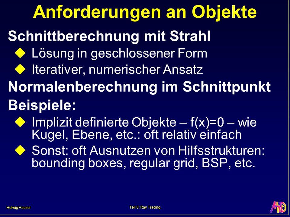 Helwig Hauser Teil 8: Ray Tracing Anforderungen an Objekte Schnittberechnung mit Strahl Lösung in geschlossener Form Iterativer, numerischer Ansatz No