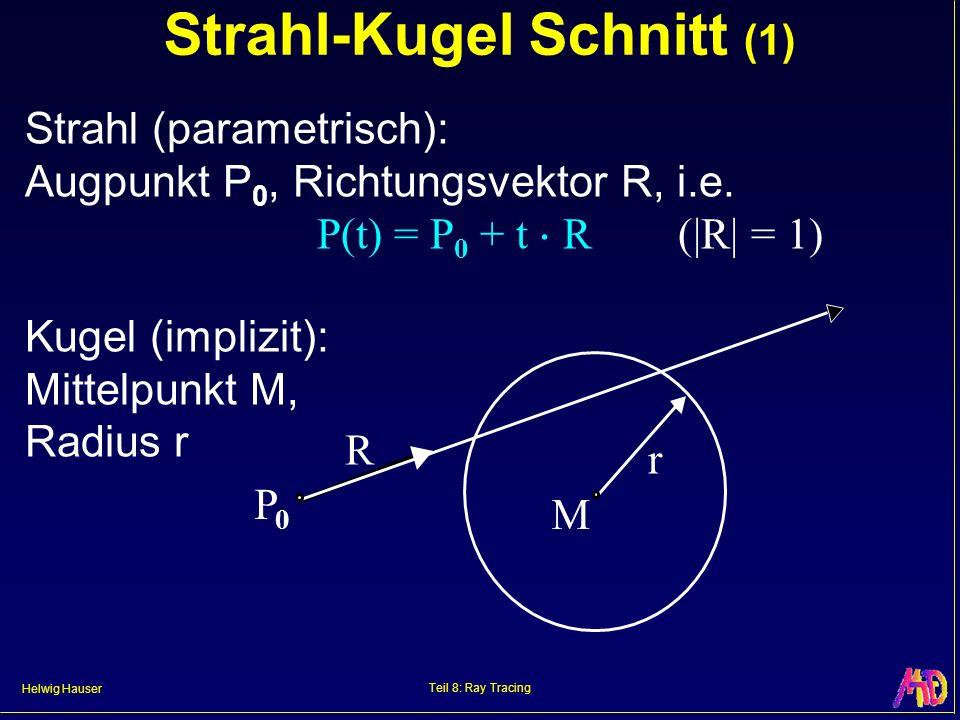 Helwig Hauser Teil 8: Ray Tracing Strahl-Kugel Schnitt (1) Strahl (parametrisch): Augpunkt P 0, Richtungsvektor R, i.e. P(t) = P 0 + t R (|R| = 1) Kug
