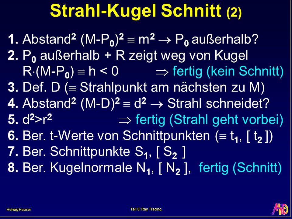 Helwig Hauser Teil 8: Ray Tracing Strahl-Kugel Schnitt (2) 1. Abstand 2 (M-P 0 ) 2 m 2 P 0 außerhalb? 2. P 0 außerhalb + R zeigt weg von Kugel R (M-P