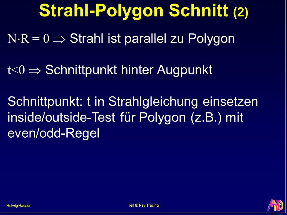 Helwig Hauser Teil 8: Ray Tracing Strahl-Polygon Schnitt (2) N R = 0 Strahl ist parallel zu Polygon t<0 Schnittpunkt hinter Augpunkt Schnittpunkt: t i