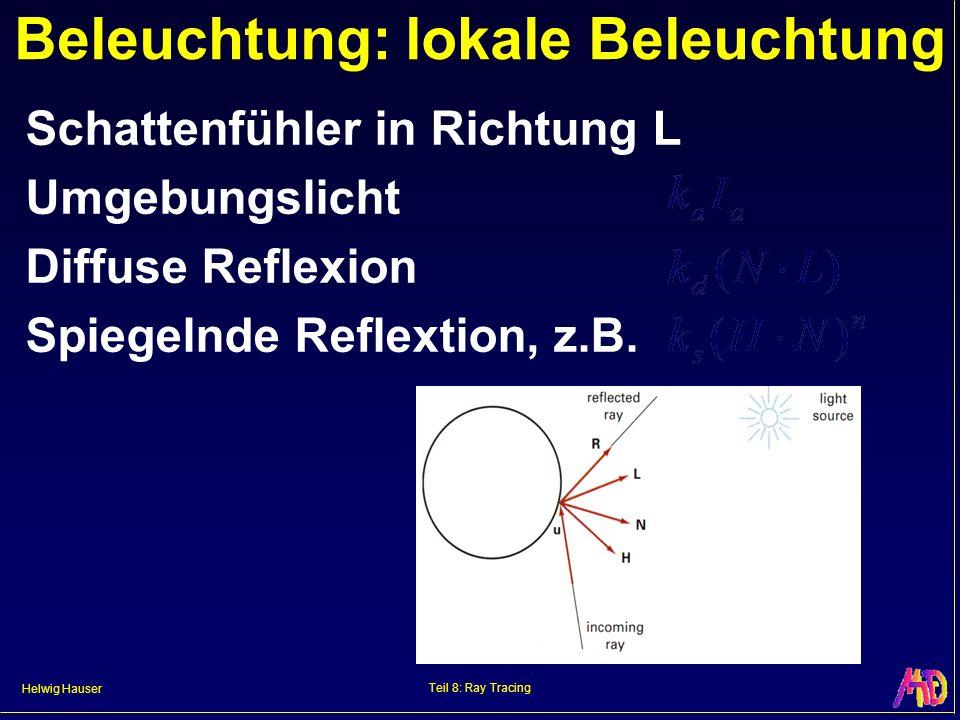 Helwig Hauser Teil 8: Ray Tracing Beleuchtung: lokale Beleuchtung Schattenfühler in Richtung L Umgebungslicht Diffuse Reflexion Spiegelnde Reflextion,