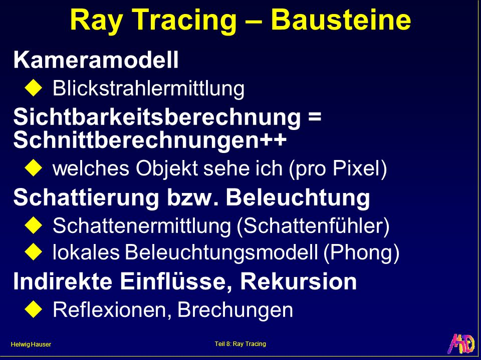 Helwig Hauser Teil 8: Ray Tracing Ray Tracing – Algorithmus Sehstrahl, Schnittberechnung, Beleuchtung & Schatten, Rekursion