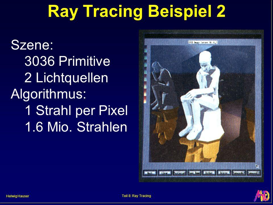 Helwig Hauser Teil 8: Ray Tracing Ray Tracing Beispiel 2 Szene: 3036 Primitive 2 Lichtquellen Algorithmus: 1 Strahl per Pixel 1.6 Mio. Strahlen