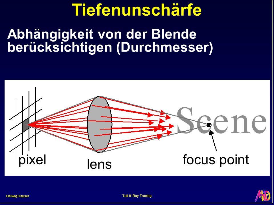 Helwig Hauser Teil 8: Ray Tracing Tiefenunschärfe Abhängigkeit von der Blende berücksichtigen (Durchmesser) pixel lens focus point