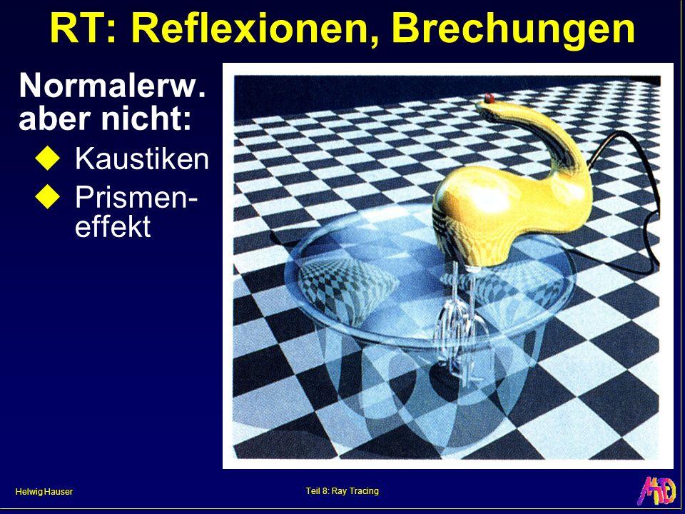 Helwig Hauser Teil 8: Ray Tracing RT: Reflexionen, Brechungen Normalerw. aber nicht: Kaustiken Prismen- effekt