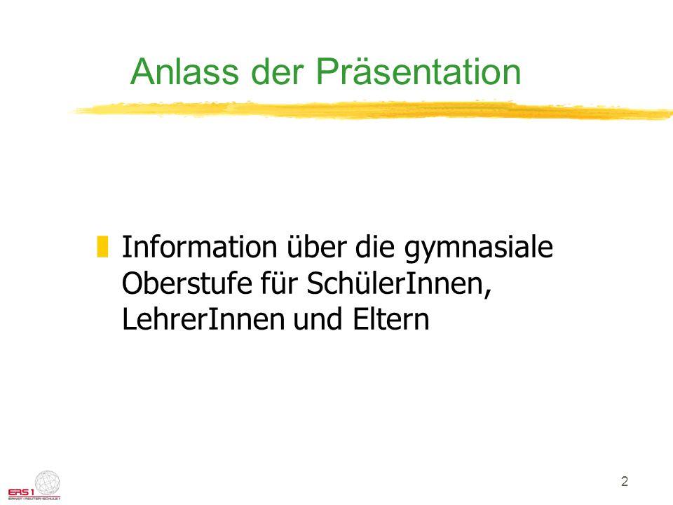2 Anlass der Präsentation zInformation über die gymnasiale Oberstufe für SchülerInnen, LehrerInnen und Eltern
