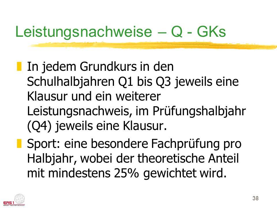 38 Leistungsnachweise – Q - GKs zIn jedem Grundkurs in den Schulhalbjahren Q1 bis Q3 jeweils eine Klausur und ein weiterer Leistungsnachweis, im Prüfungshalbjahr (Q4) jeweils eine Klausur.