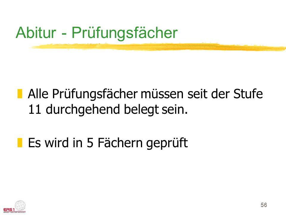 56 Abitur - Prüfungsfächer zAlle Prüfungsfächer müssen seit der Stufe 11 durchgehend belegt sein.