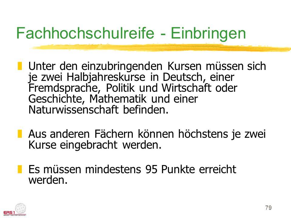 79 Fachhochschulreife - Einbringen zUnter den einzubringenden Kursen müssen sich je zwei Halbjahreskurse in Deutsch, einer Fremdsprache, Politik und Wirtschaft oder Geschichte, Mathematik und einer Naturwissenschaft befinden.
