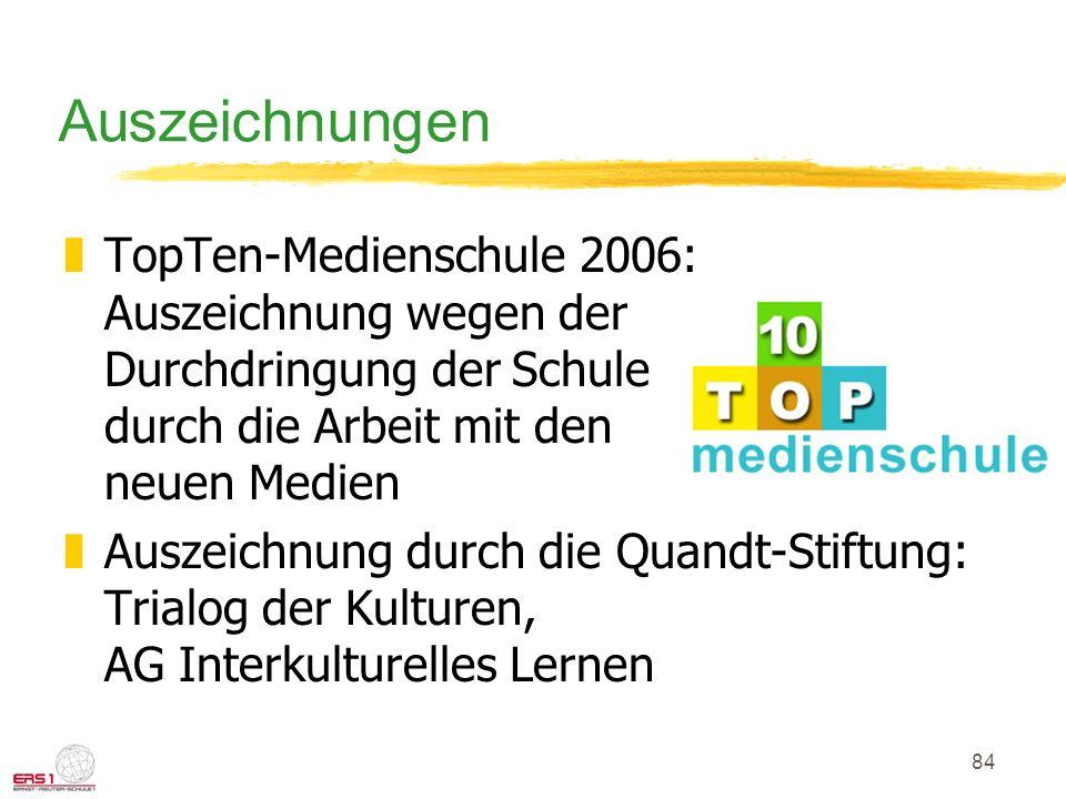84 Auszeichnungen zTopTen-Medienschule 2006: Auszeichnung wegen der Durchdringung der Schule durch die Arbeit mit den neuen Medien zAuszeichnung durch die Quandt-Stiftung: Trialog der Kulturen, AG Interkulturelles Lernen