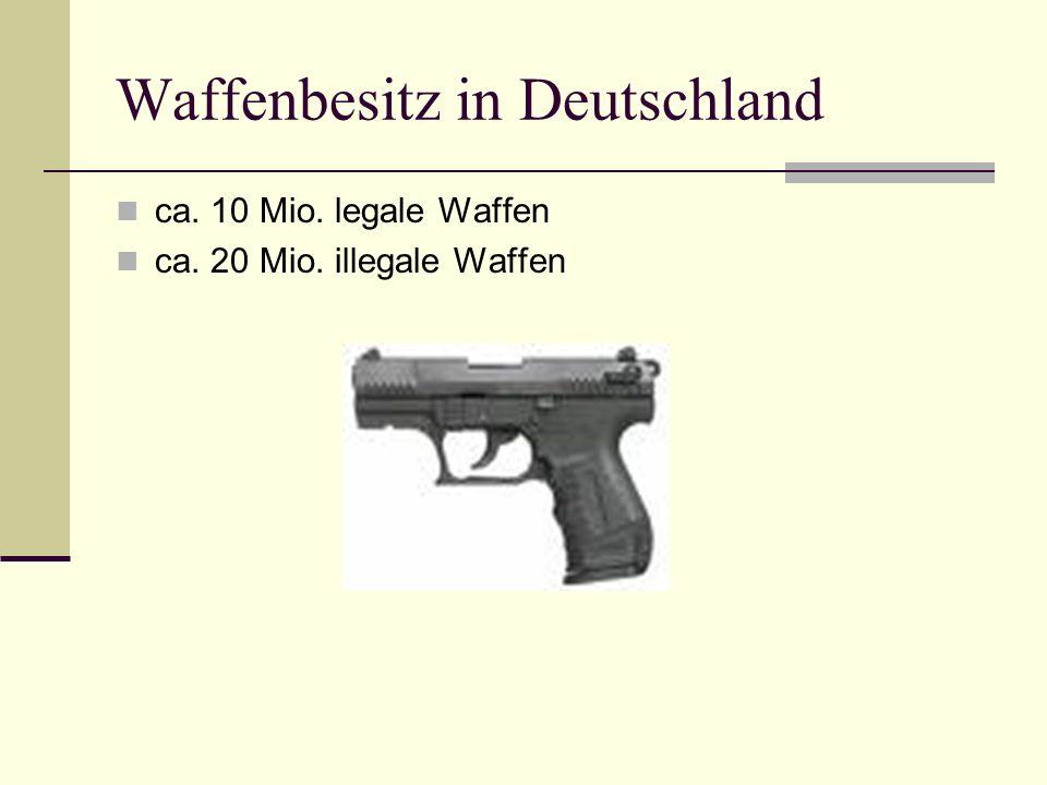 Waffenbesitz in Deutschland ca. 10 Mio. legale Waffen ca. 20 Mio. illegale Waffen