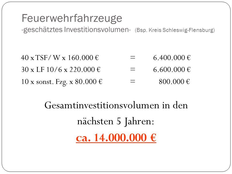 Feuerwehrfahrzeuge -geschätztes Investitionsvolumen- (Bsp.