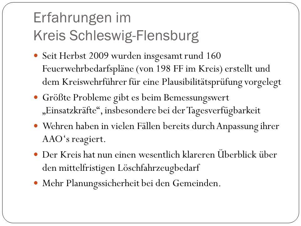 Erfahrungen im Kreis Schleswig-Flensburg Seit Herbst 2009 wurden insgesamt rund 160 Feuerwehrbedarfspläne (von 198 FF im Kreis) erstellt und dem Kreiswehrführer für eine Plausibilitätsprüfung vorgelegt Größte Probleme gibt es beim Bemessungswert Einsatzkräfte, insbesondere bei der Tagesverfügbarkeit Wehren haben in vielen Fällen bereits durch Anpassung ihrer AAOs reagiert.