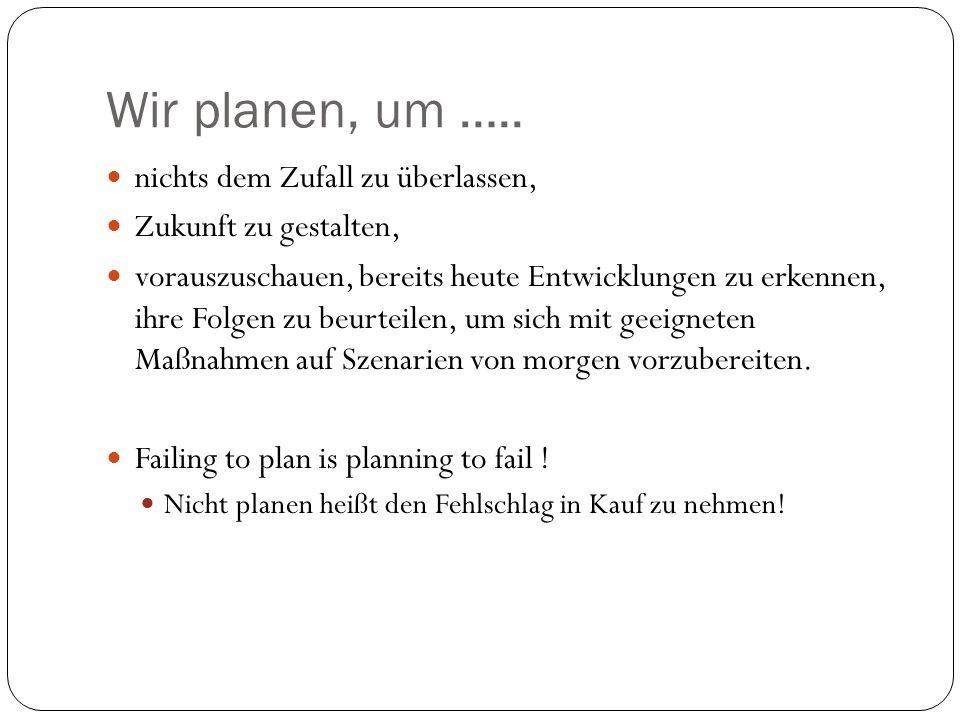 Wir planen, um …..