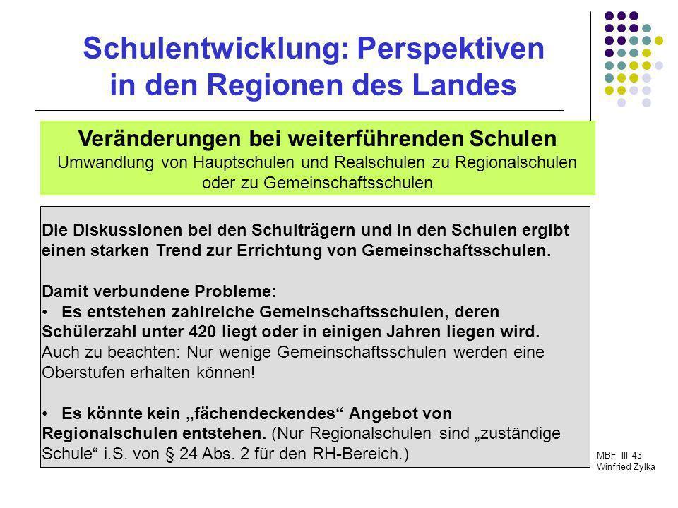 Schulentwicklung: Perspektiven in den Regionen des Landes MBF III 43 Winfried Zylka Veränderungen bei weiterführenden Schulen Umwandlung von Hauptschu