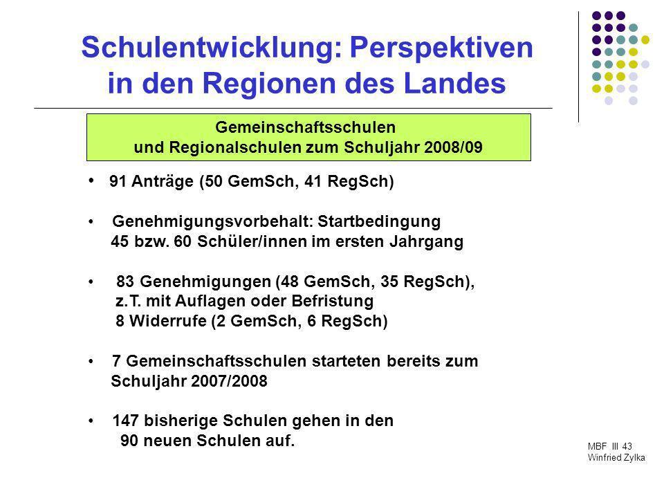 Schulentwicklung: Perspektiven in den Regionen des Landes MBF III 43 Winfried Zylka 91 Anträge (50 GemSch, 41 RegSch) Genehmigungsvorbehalt: Startbedi