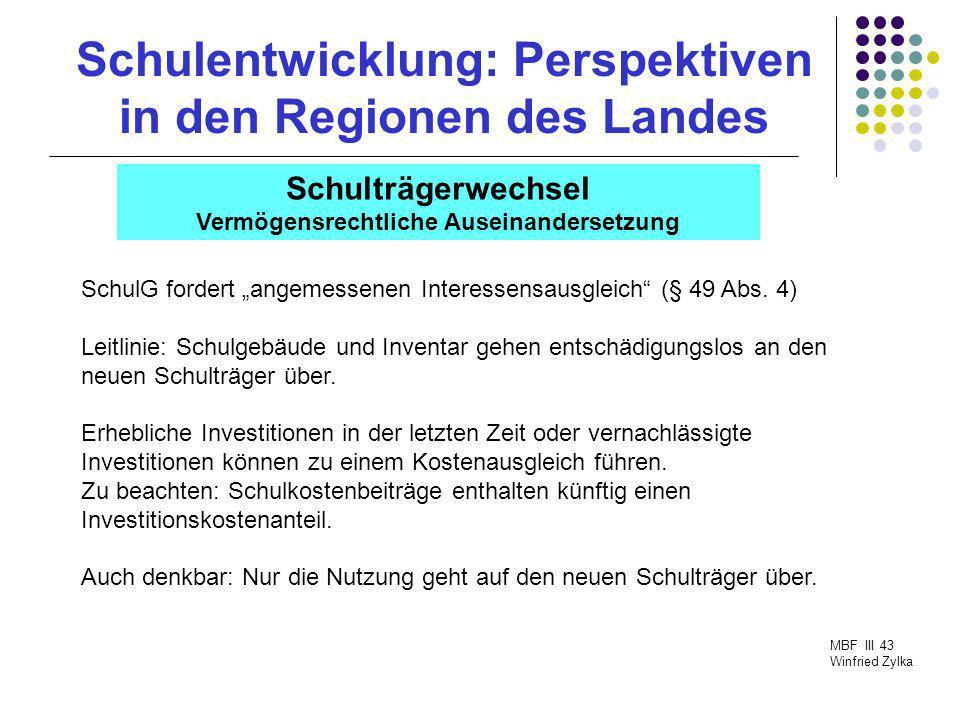 Schulentwicklung: Perspektiven in den Regionen des Landes MBF III 43 Winfried Zylka Schulträgerwechsel Vermögensrechtliche Auseinandersetzung SchulG f