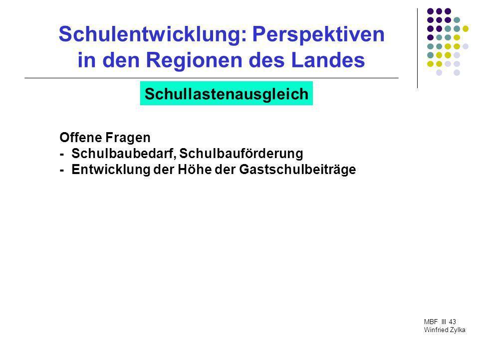 Schulentwicklung: Perspektiven in den Regionen des Landes MBF III 43 Winfried Zylka Schullastenausgleich Offene Fragen - Schulbaubedarf, Schulbauförde