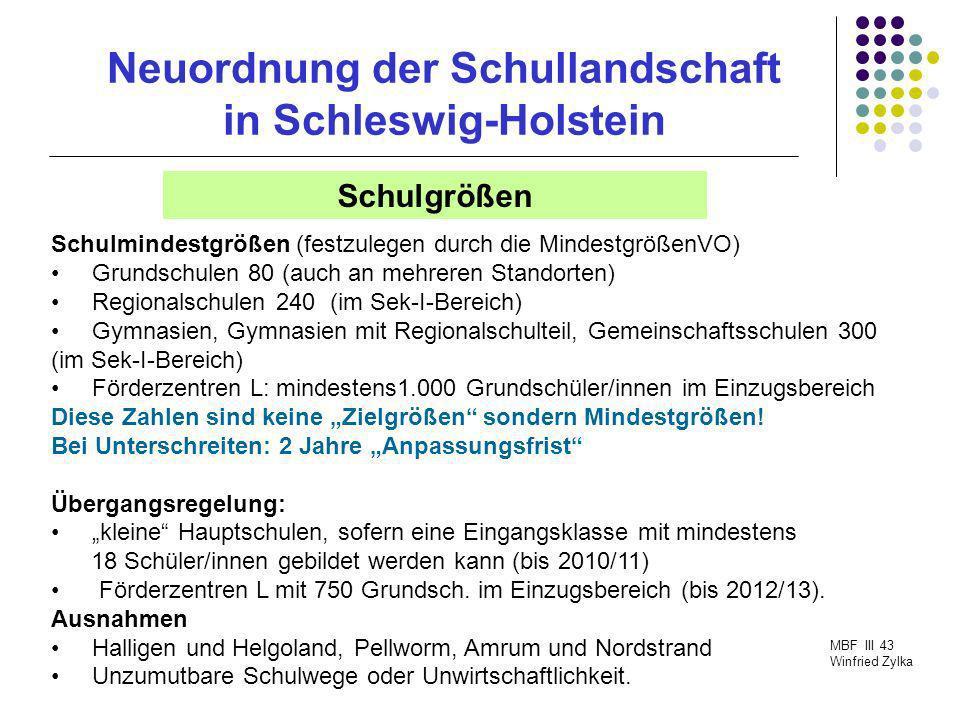Neuordnung der Schullandschaft in Schleswig-Holstein MBF III 43 Winfried Zylka Schulgrößen Schulmindestgrößen (festzulegen durch die MindestgrößenVO)