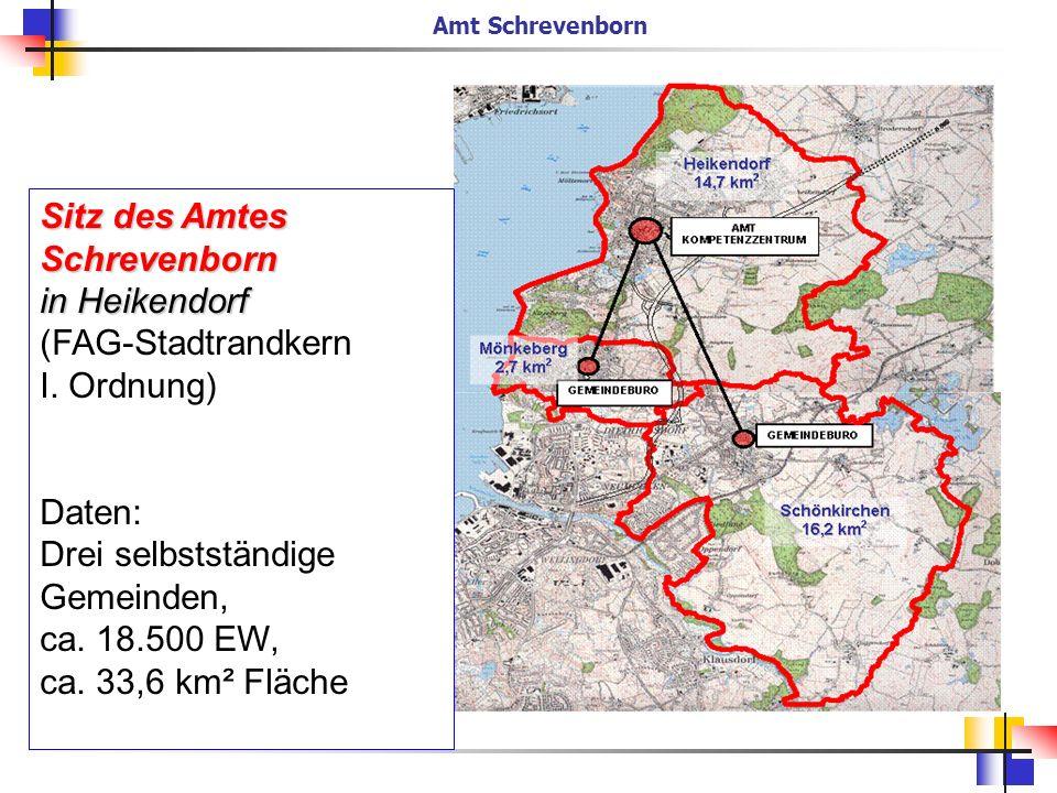 Sitz des Amtes Schrevenborn in Heikendorf (FAG-Stadtrandkern I. Ordnung) Daten: Drei selbstständige Gemeinden, ca. 18.500 EW, ca. 33,6 km² Fläche Amt