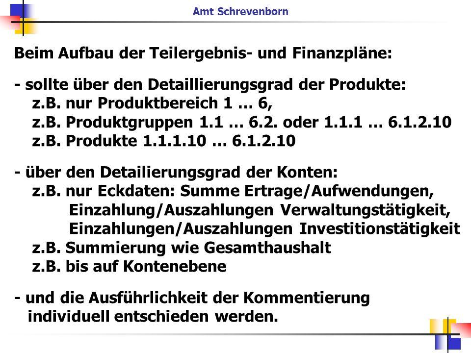 Beim Aufbau der Teilergebnis- und Finanzpläne: - sollte über den Detaillierungsgrad der Produkte: z.B. nur Produktbereich 1 … 6, z.B. Produktgruppen 1