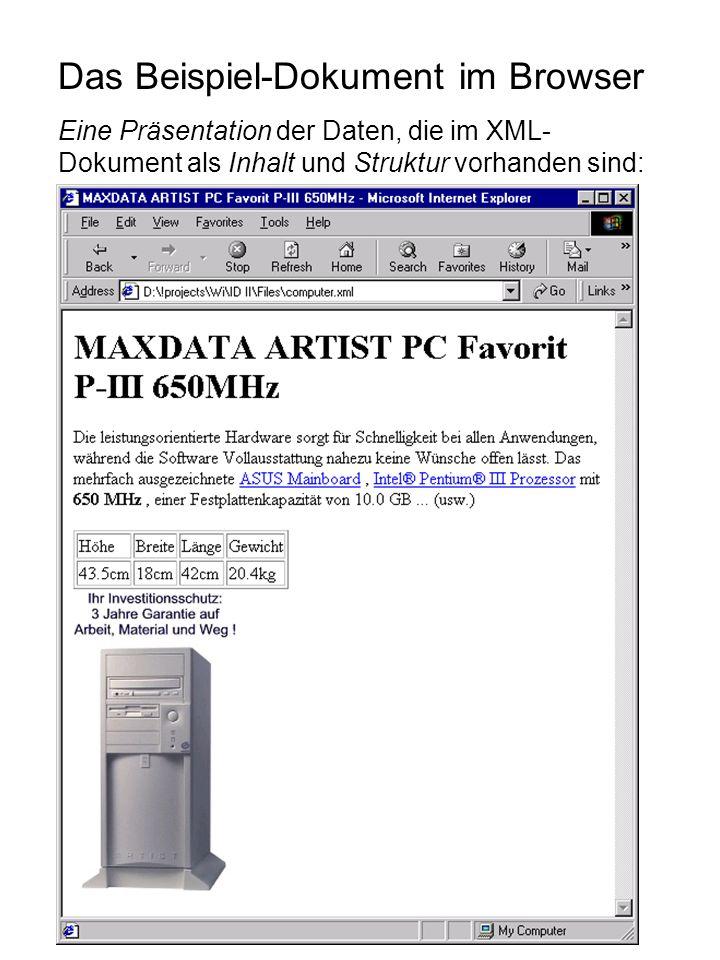Das Beispiel-Dokument im Browser Eine Präsentation der Daten, die im XML- Dokument als Inhalt und Struktur vorhanden sind: