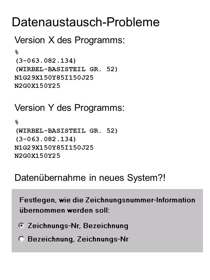 Version X des Programms: Datenaustausch-Probleme % (3-063.082.134) (WIRBEL-BASISTEIL GR.