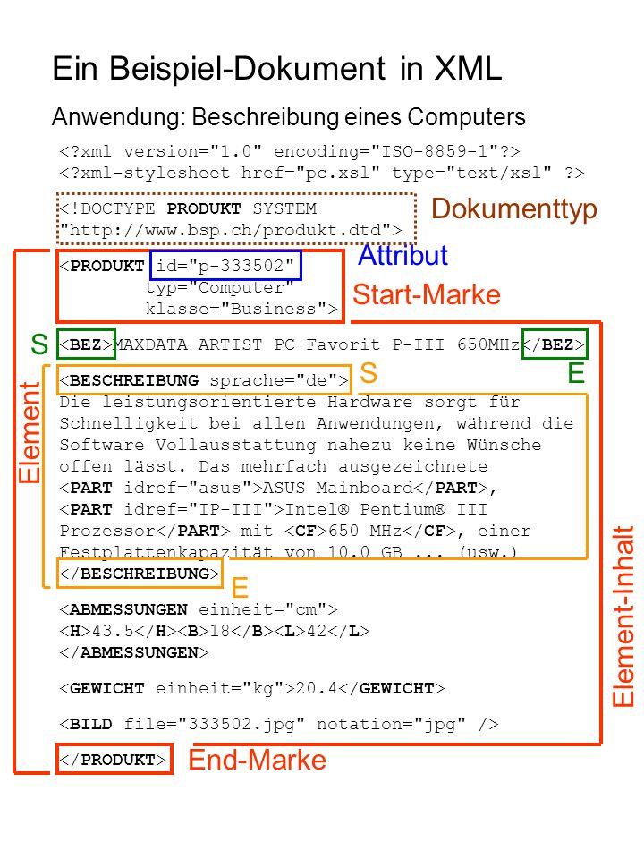 Ein Beispiel-Dokument in XML Anwendung: Beschreibung eines Computers <!DOCTYPE PRODUKT SYSTEM http://www.bsp.ch/produkt.dtd > <PRODUKT id= p-333502 typ= Computer klasse= Business > MAXDATA ARTIST PC Favorit P-III 650MHz Die leistungsorientierte Hardware sorgt für Schnelligkeit bei allen Anwendungen, während die Software Vollausstattung nahezu keine Wünsche offen lässt.