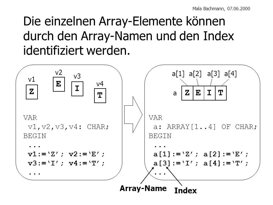 Mala Bachmann, 07.06.2000 Die einzelnen Array-Elemente können durch den Array-Namen und den Index identifiziert werden.