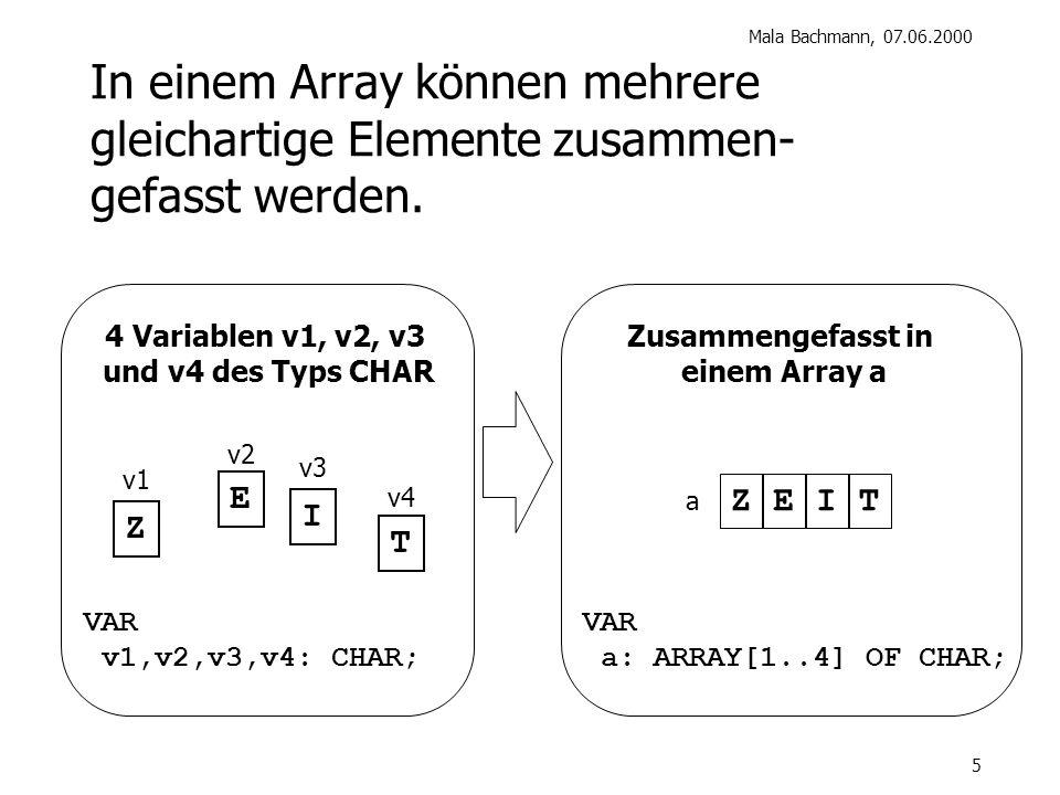 Mala Bachmann, 07.06.2000 5 In einem Array können mehrere gleichartige Elemente zusammen- gefasst werden.