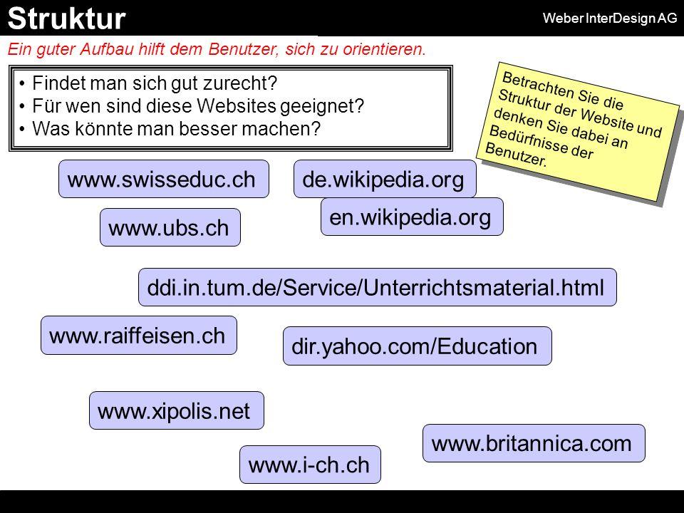 Weber InterDesign AG www.swisseduc.ch dir.yahoo.com/Education www.i-ch.ch Findet man sich gut zurecht.