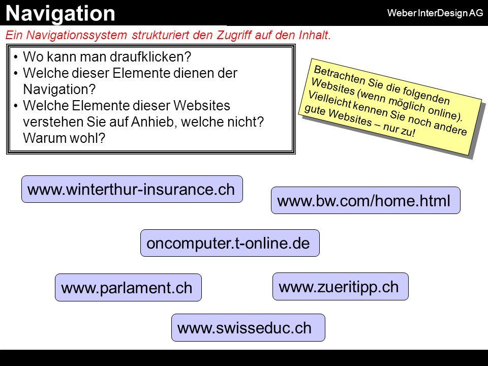 Weber InterDesign AG Wo kann man draufklicken. Welche dieser Elemente dienen der Navigation.