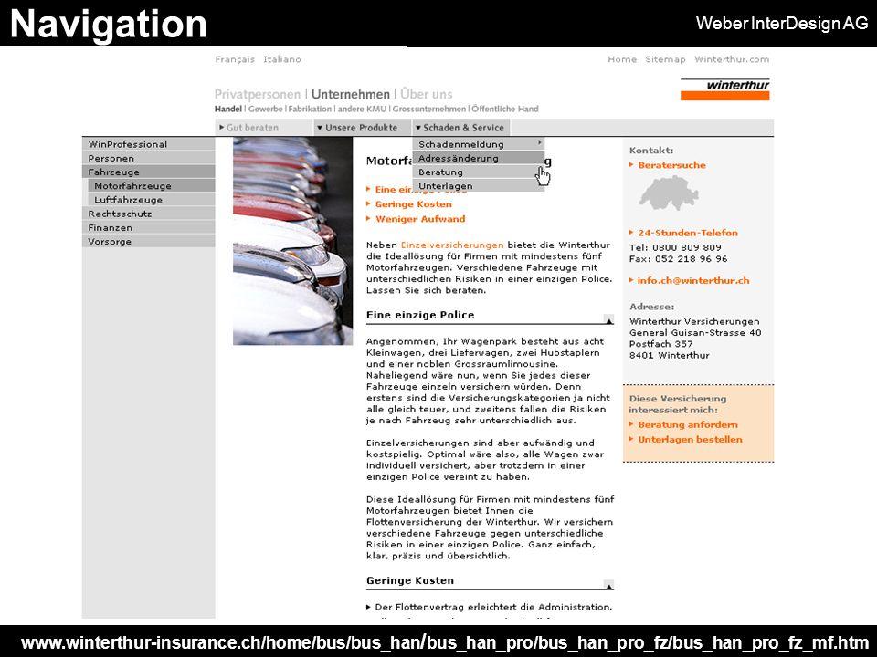 Weber InterDesign AG www.winterthur-insurance.ch/home/bus/bus_han / bus_han_pro/bus_han_pro_fz/bus_han_pro_fz_mf.htm Navigation