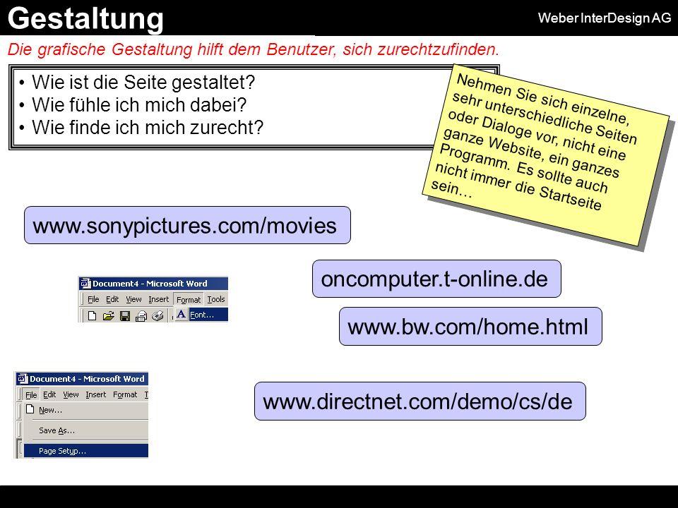 Weber InterDesign AG Wie ist die Seite gestaltet. Wie fühle ich mich dabei.