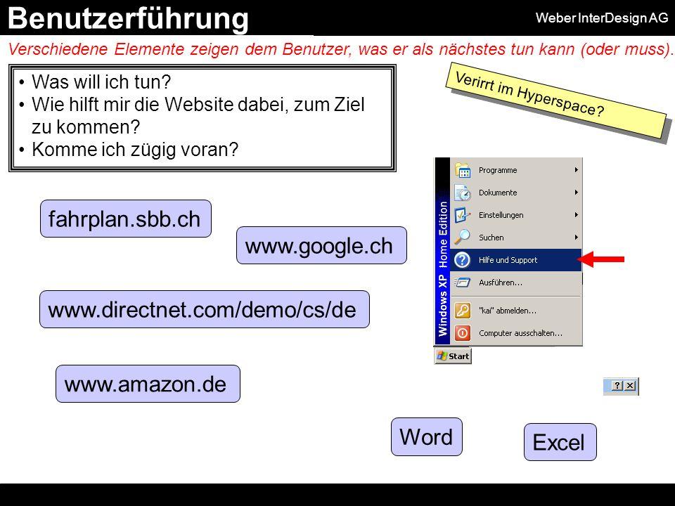 Weber InterDesign AG Was will ich tun. Wie hilft mir die Website dabei, zum Ziel zu kommen.