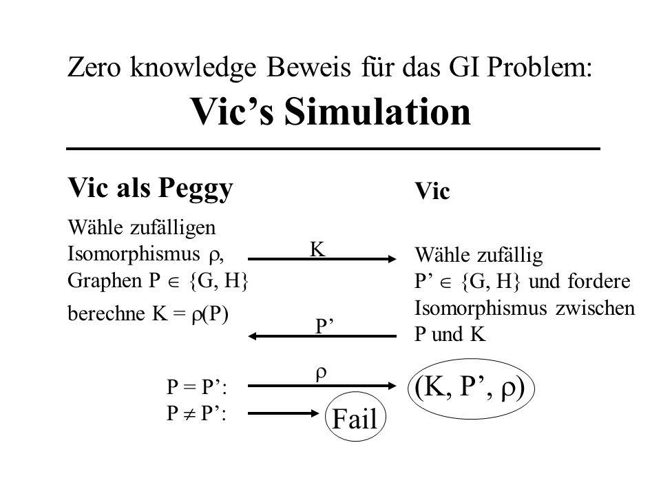 Zero knowledge Beweis für das GI Problem: Vics Simulation Vic als Peggy Vic Wähle zufälligen Isomorphismus, Graphen P {G, H} berechne K = (P) K Wähle