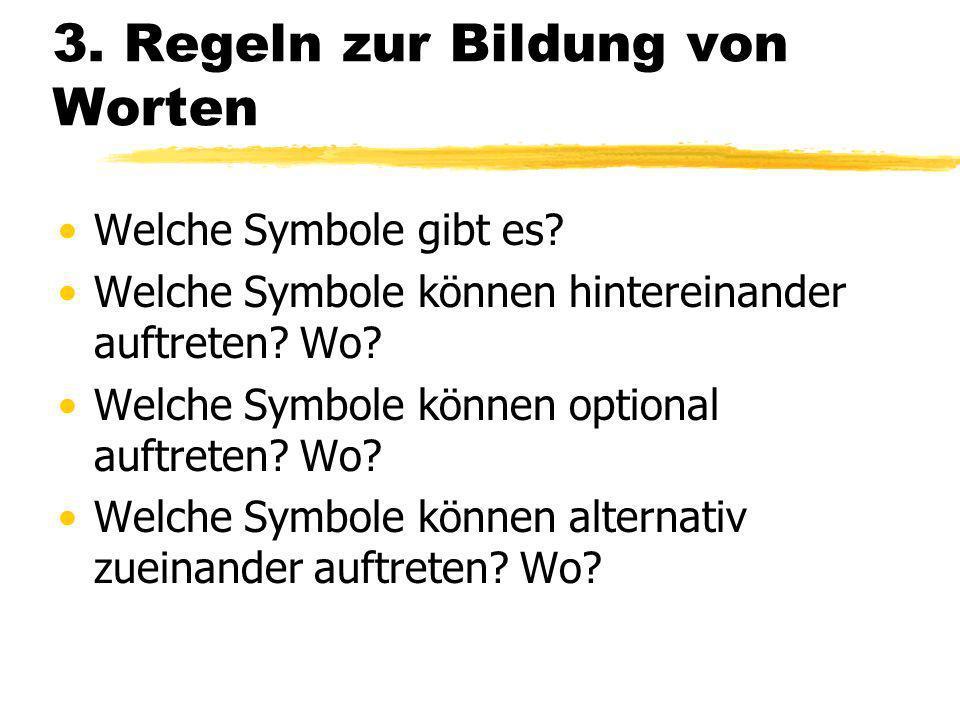 3.Regeln zur Bildung von Worten Welche Symbole gibt es.