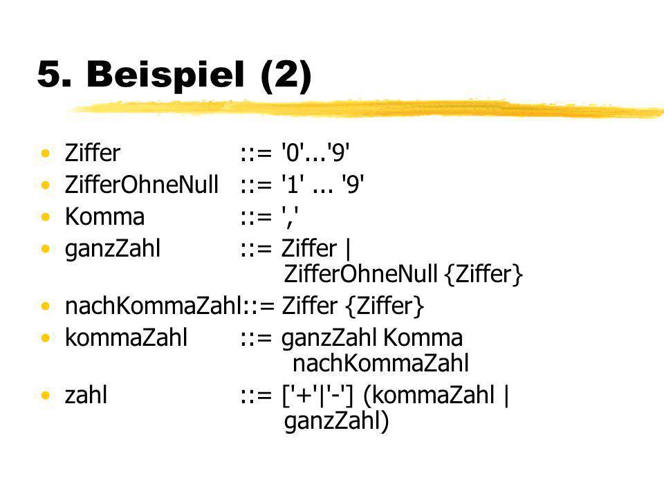 5.Beispiel (2) Ziffer ::= 0 ... 9 ZifferOhneNull ::= 1 ...