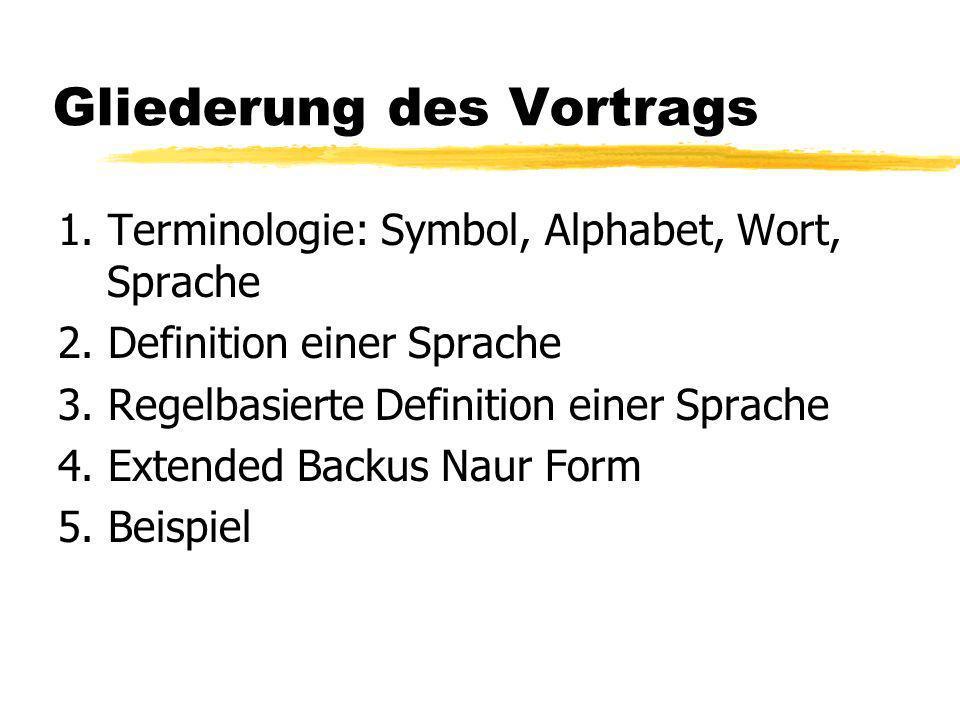 Gliederung des Vortrags 1.Terminologie: Symbol, Alphabet, Wort, Sprache 2.
