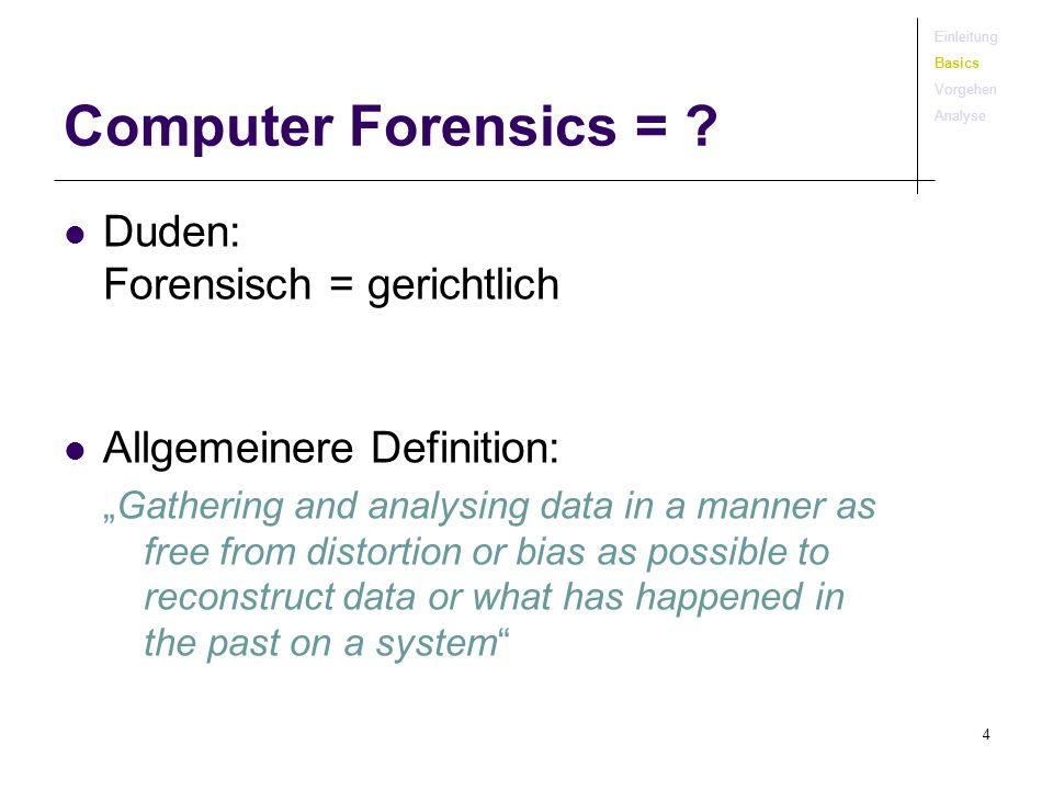 4 Computer Forensics = ? Duden: Forensisch = gerichtlich Allgemeinere Definition: Gathering and analysing data in a manner as free from distortion or