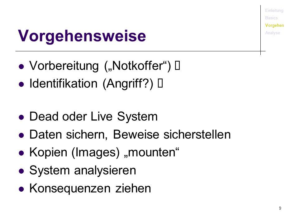 9 Vorgehensweise Vorbereitung (Notkoffer) Identifikation (Angriff?) Dead oder Live System Daten sichern, Beweise sicherstellen Kopien (Images) mounten