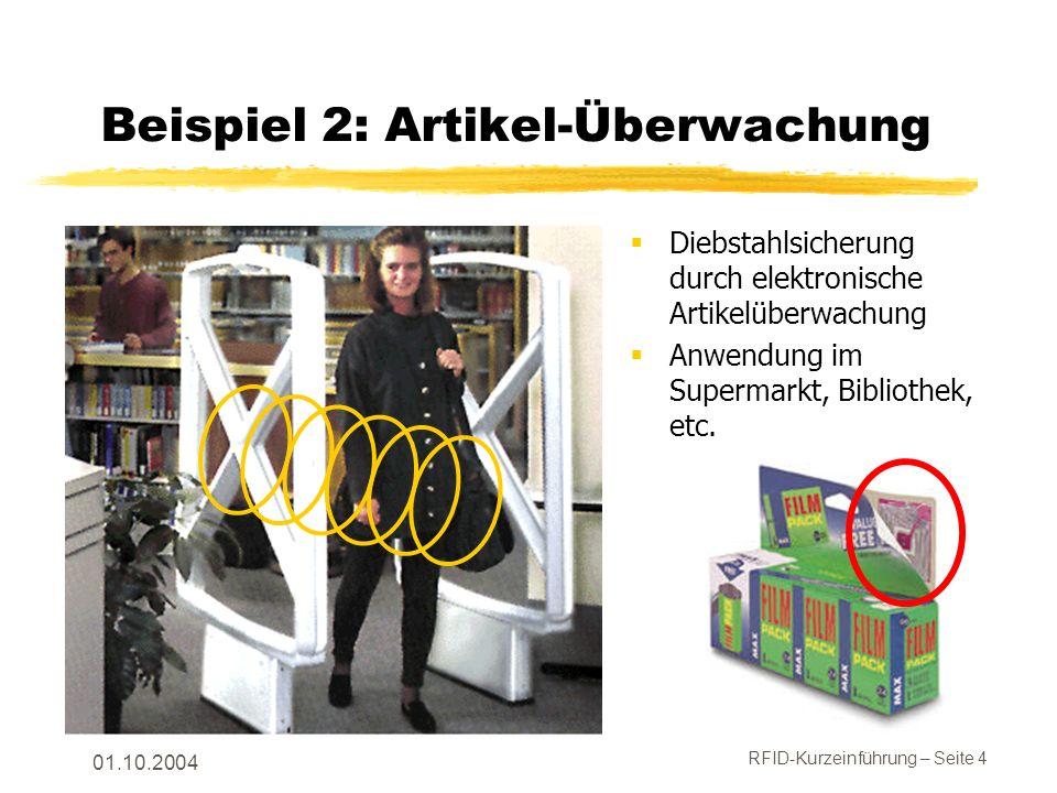 RFID-Kurzeinführung – Seite 5 01.10.2004 Ein RFID-System umfasst … Rechner mit der Anwendung, die RFID verwendet.