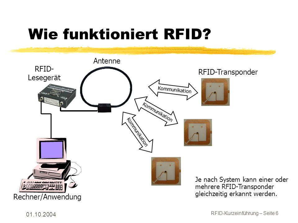 RFID-Kurzeinführung – Seite 6 01.10.2004 Wie funktioniert RFID.