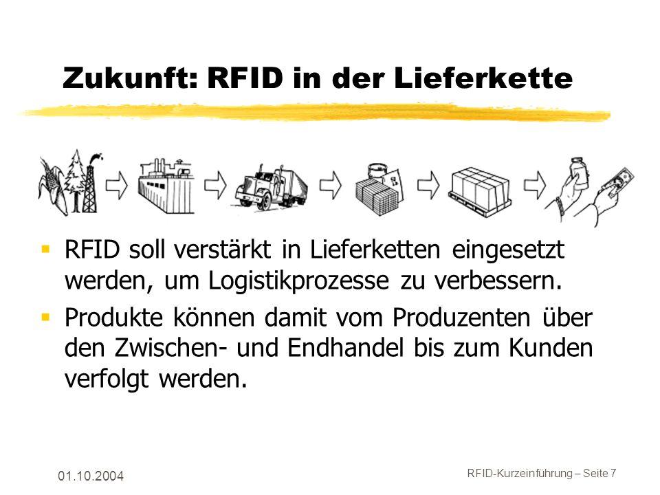 RFID-Kurzeinführung – Seite 7 01.10.2004 Zukunft: RFID in der Lieferkette RFID soll verstärkt in Lieferketten eingesetzt werden, um Logistikprozesse zu verbessern.