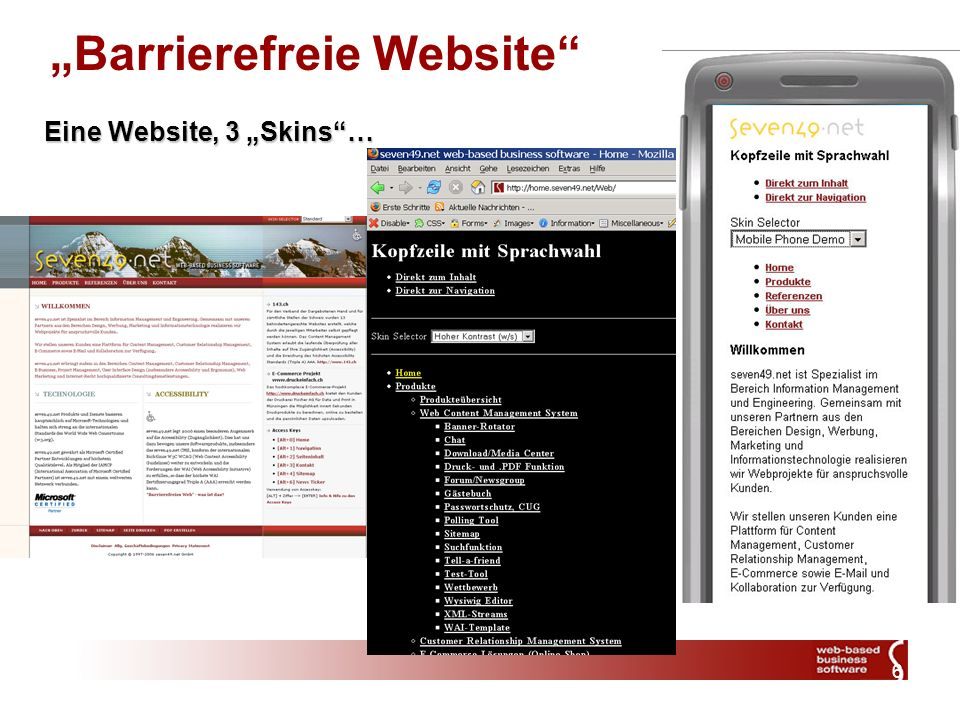 6 Barrierefreie Website Eine Website, 3 Skins…