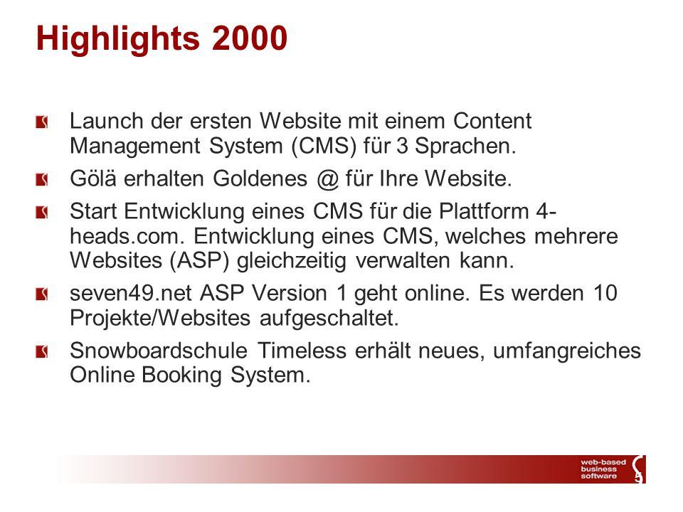 5 Highlights 2000 Launch der ersten Website mit einem Content Management System (CMS) für 3 Sprachen.