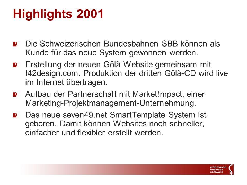 7 Highlights 2002 Realisierung von zahlreichen Webprojekten mit den bisherigen und neuen Partnern.