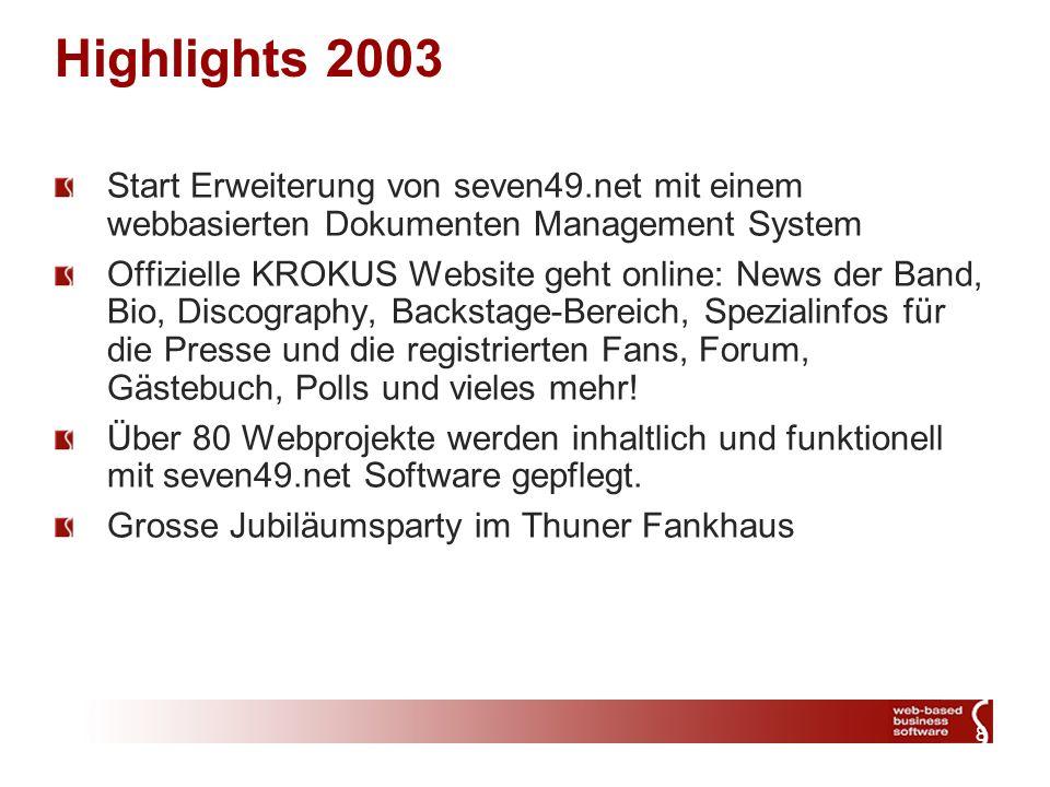 8 Highlights 2003 Start Erweiterung von seven49.net mit einem webbasierten Dokumenten Management System Offizielle KROKUS Website geht online: News der Band, Bio, Discography, Backstage-Bereich, Spezialinfos für die Presse und die registrierten Fans, Forum, Gästebuch, Polls und vieles mehr.